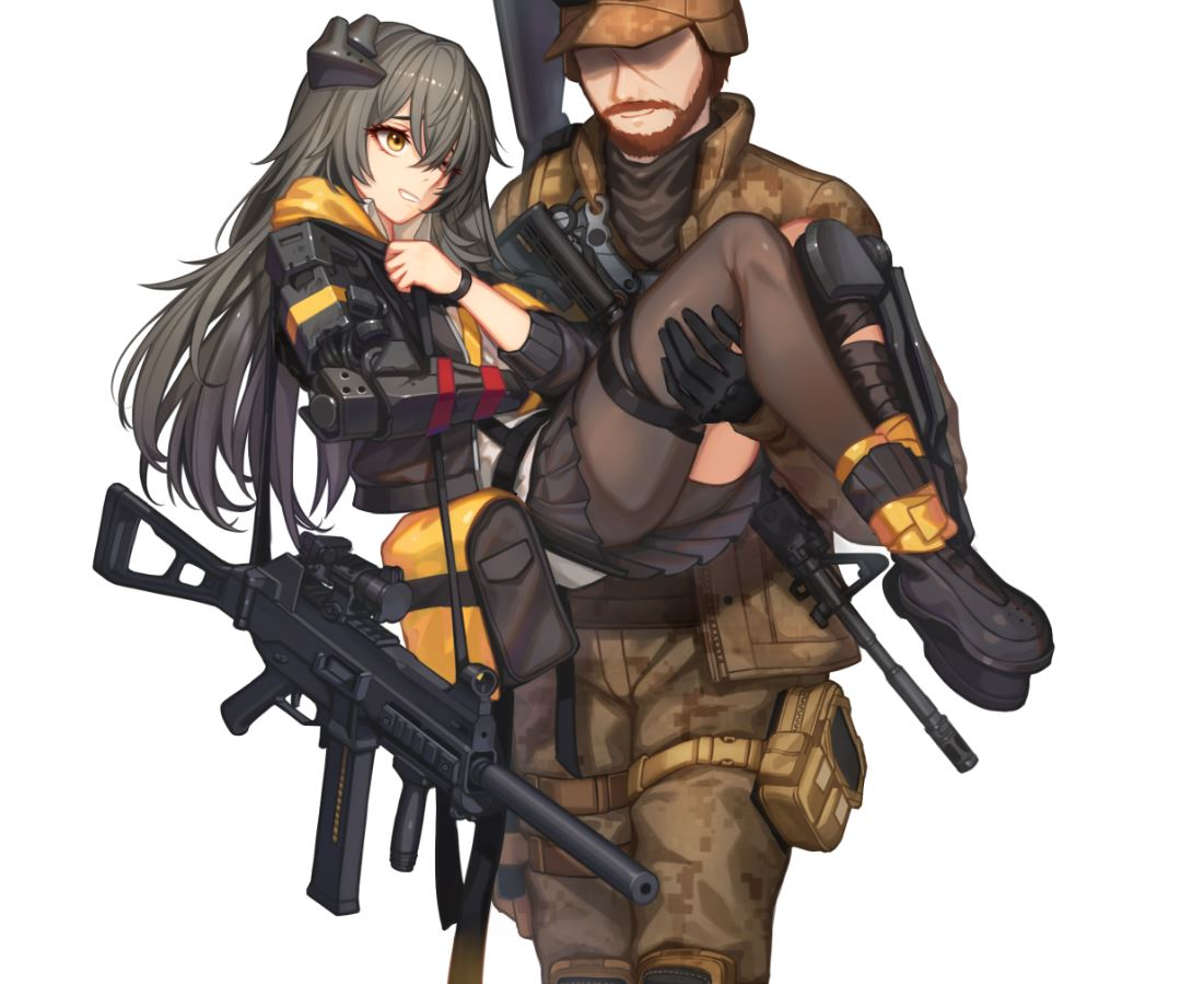 1boy 1girl android ar-15 baek_hyang bag beard brown_hair carrying commentary duffel_bag faceless faceless_male facial_hair folding_stock girls_frontline gloves gun h&k_ump hat knee_pads long_hair magazine_(weapon) mechanical_arm military military_operator military_uniform pantyhose princess_carry reflex_sight rifle scar single_knee_pad skirt sling_(weapon) smile submachine_gun suppressor ump45_(girls_frontline) uniform weapon yellow_eyes