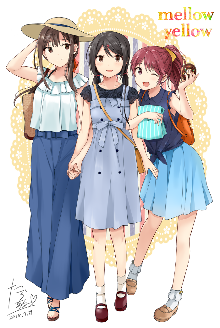 3girls ;d bare_arms beige_footwear beige_headwear blouse blue_pants bobby_socks brown_hair character_request chocolate_doughnut closed_mouth clothing_request collarbone doily dot_nose double-breasted doughnut fashion food frilled_blouse full_body furrowed_eyebrows high-waist_pants holding idolmaster idolmaster_cinderella_girls legs looking_at_viewer loose_pants low_twintails multiple_girls one_eye_closed open_mouth pants red_footwear redhead shiny shiny_hair shirt signature sleeveless_blouse smile socks sprinkles tarachine tied_shirt twintails white_blouse white_legwear