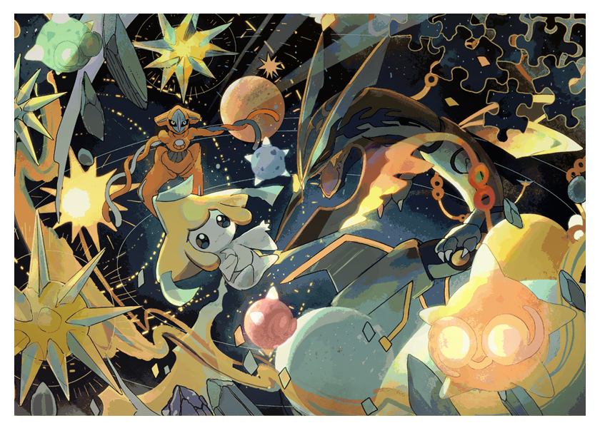 deoxys jirachi mega_pokemon mega_rayquaza minior minior_(shields_down) no_humans outer_space planet pokemon pokemon_(creature) rayquaza sun