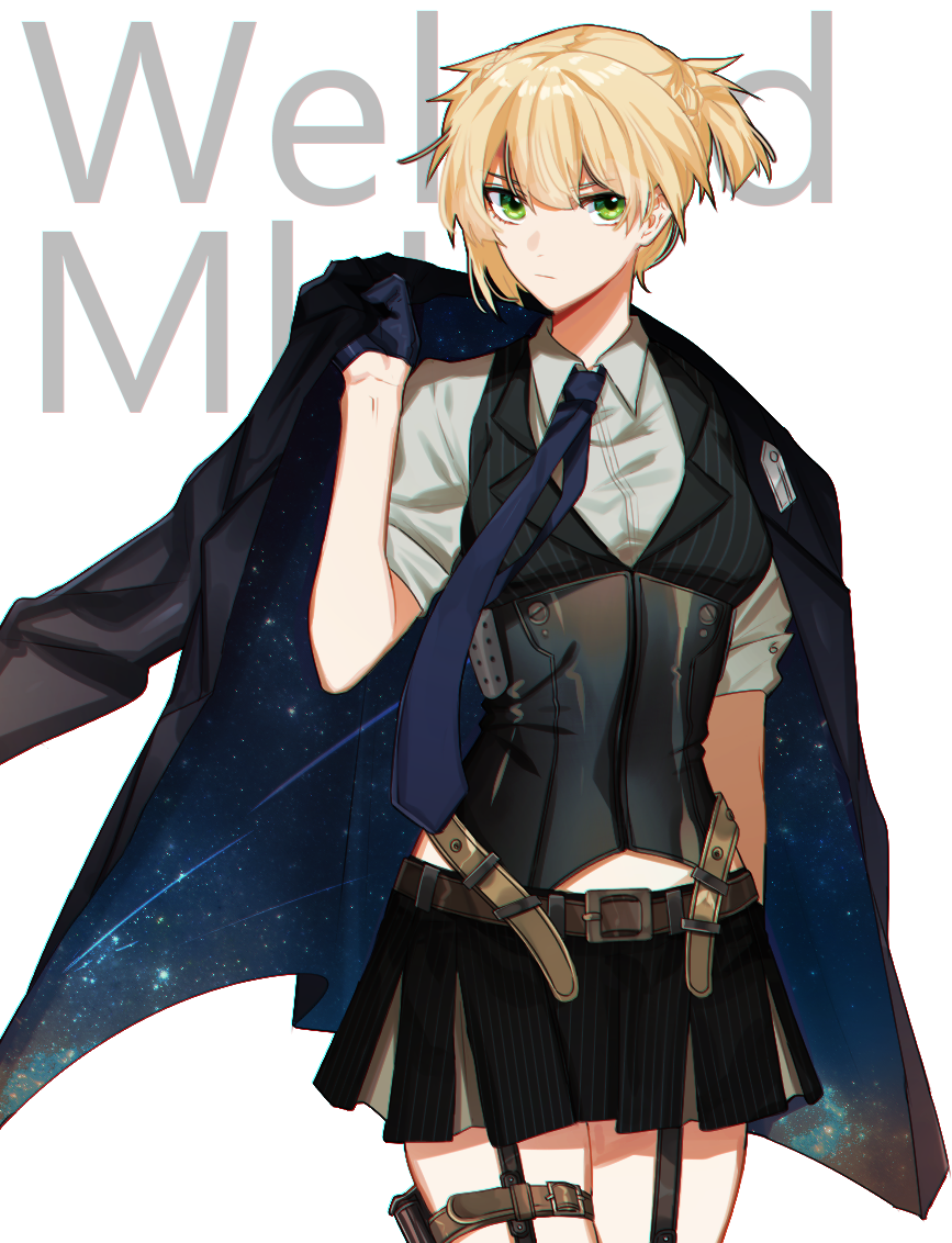 1girl 3o_c belt blouse character_name girls_frontline gloves green_eyes jacket jacket_on_shoulders jacket_removed military_jacket miniskirt necktie short_twintails skirt solo twintails vest welrod_mk2_(girls_frontline)