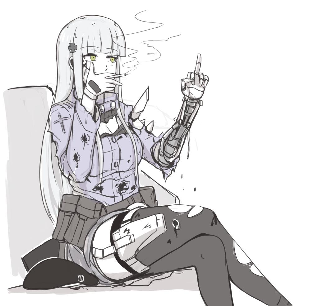 1girl bangs bleeding blood blood_on_face bruise bullet_hole cigarette cuts damaged girls_frontline green_eyes hair_ornament hat hk416_(girls_frontline) injury long_hair mechanical_arm middle_finger selby silver_hair sitting smoking solo torn_clothes torn_legwear weapon