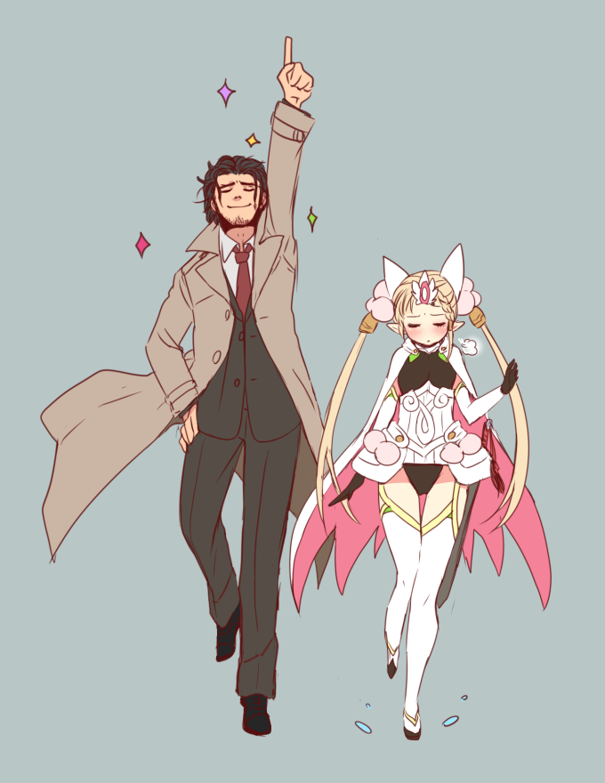 1boy 1girl armor blush boots cape closed_eyes cop_craft:_dragnet_mirage_reloaded dancing elbow_gloves elf embarrassed garter_straps gloves height_difference leotard matoba_kei otowe pointy_ears sheath sheathed sword thigh-highs thigh_boots tilarna_exedilika weapon