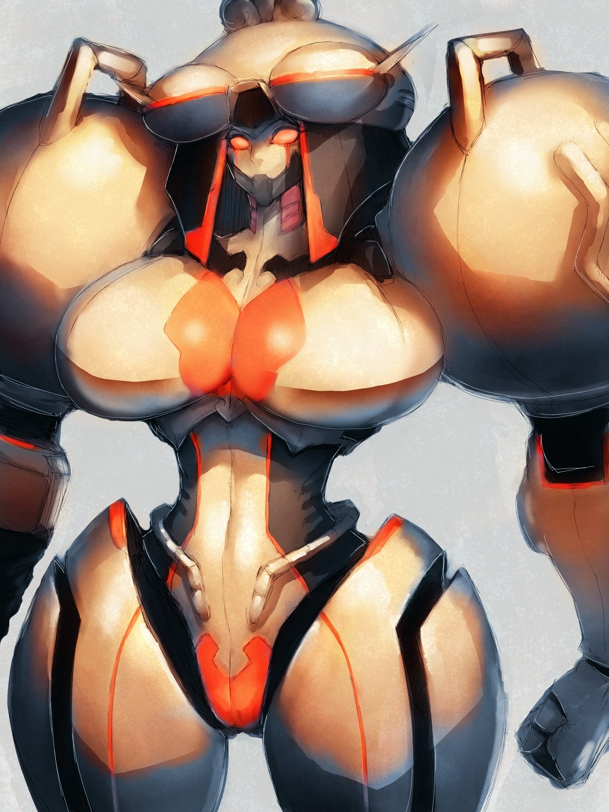 1girl breasts commentary_request covered_navel fumio_(rsqkr) genderswap genderswap_(mtf) highres huge_breasts looking_at_viewer orange_eyes phobos_(vampire) robot solo thick_thighs thighs vampire_(game)