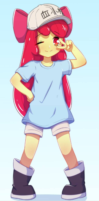 applebloom boots bow cap loli long_hair my_little_pony oversized_shirt platelet_(hataraku_saibou) platelet_(hataraku_saibou)_(cosplay) red_eyes redhead shadow shorts v wink winking