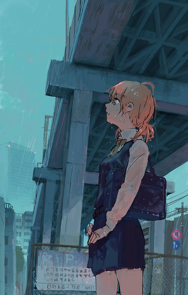 1girl bag brown_eyes city dripping fence fujibejifu ground_vehicle koito_yuu orange_hair pleated_skirt power_lines rain school_uniform see-through shoulder_bag skirt solo train wet wet_clothes yagate_kimi_ni_naru