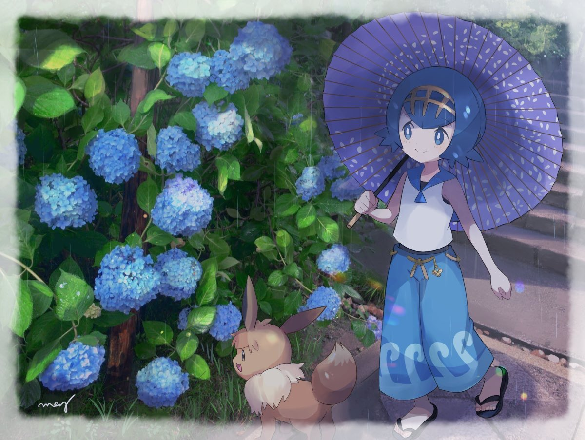 1girl blue_eyes blue_hair blue_pants closed_mouth eevee flower gen_1_pokemon mei_(maysroom) pants pokemon pokemon_(anime) pokemon_(creature) pokemon_sm_(anime) sandals shirt short_hair sleeveless sleeveless_shirt smile stairs suiren_(pokemon) swimsuit swimsuit_under_clothes trial_captain umbrella