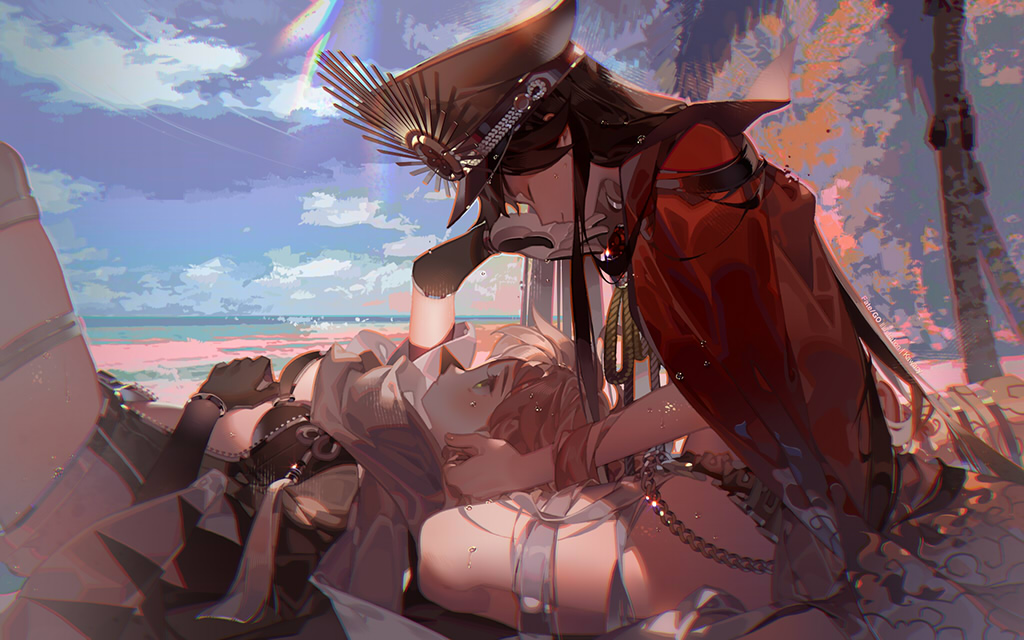 2girls beach bikini black_hair blue_sky cape closed_eyes commentary_request day elbow_gloves fate/grand_order fate_(series) gloves hat indian_style kawacy long_hair looking_at_another lying lying_on_lap military_hat multiple_girls ocean oda_nobunaga_(fate) oda_nobunaga_(fate)_(all) oda_nobunaga_(swimsuit_berserker)_(fate) oda_uri okita_souji_(fate)_(all) okita_souji_(swimsuit_assassin)_(fate) on_back outdoors palm_tree peaked_cap platinum_blonde_hair red_cape shade short_hair sitting sky straight_hair swimsuit thighs tree tree_shade very_long_hair yellow_eyes yuri
