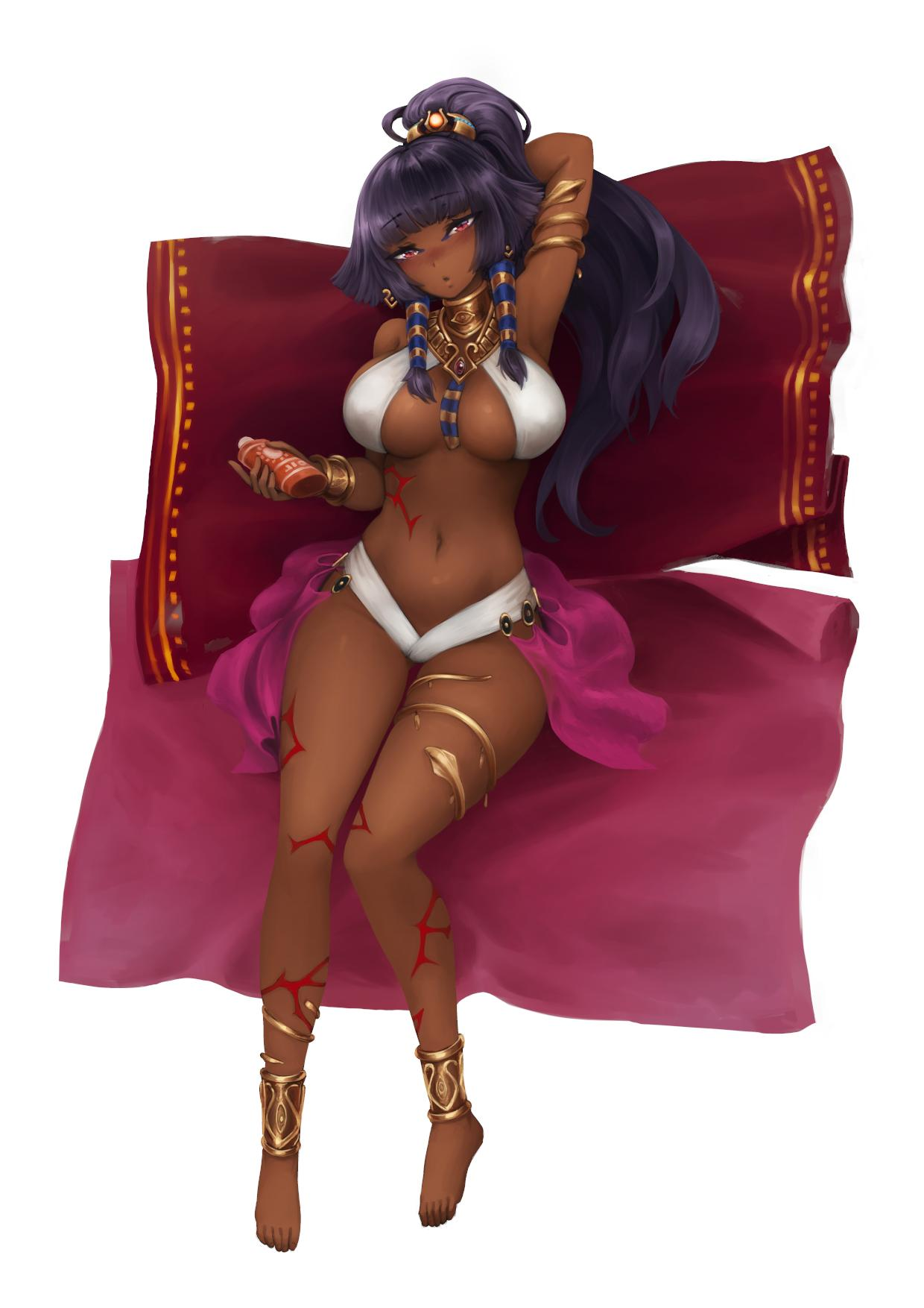 1girl anklet arm_behind_head armlet armpits bangs barbariank bare_legs bare_shoulders barefoot black_hair blanket blunt_bangs blush bracelet breasts breasts_apart commentary dark_skin egyptian eyebrows_visible_through_hair full_body hair_ornament hair_tubes head_tilt highres holding jewelry large_breasts long_hair looking_at_viewer lotion monster_girl_encyclopedia navel necklace parted_lips pharaoh_(monster_girl_encyclopedia) ponytail red_eyes simple_background solo stomach sunscreen symbol_commentary thighlet white_background