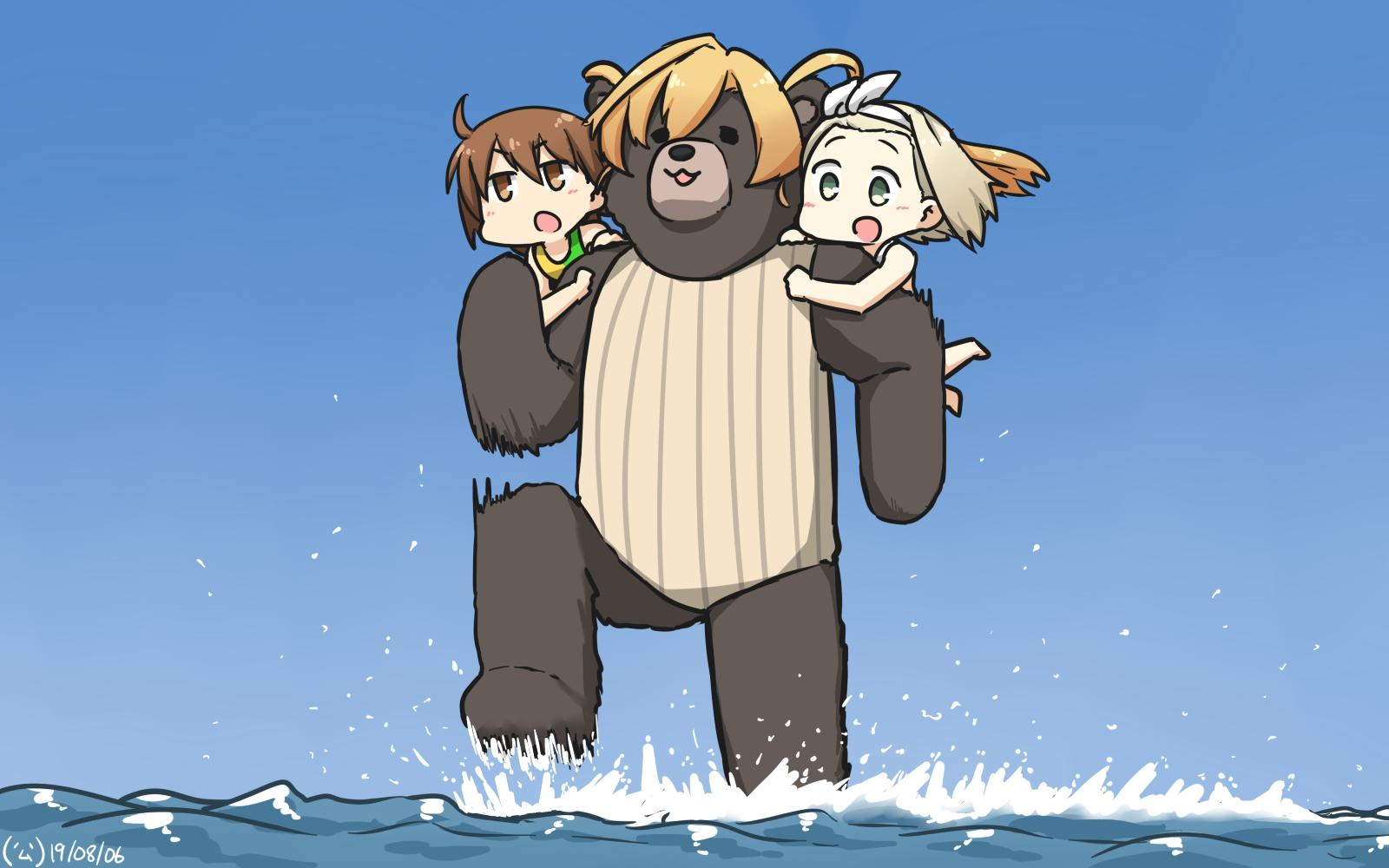 3girls abukuma_(kantai_collection) animalization bear blonde_hair brown_eyes brown_hair brown_swimsuit carrying casual_one-piece_swimsuit commentary_request dated double_bun green_eyes hair_rings hairband hamu_koutarou highres i-504_(kantai_collection) kantai_collection long_hair luigi_torelli_(kantai_collection) multiple_girls one-piece_swimsuit running_on_liquid school_swimsuit short_hair striped striped_swimsuit swimsuit two-tone_swimsuit wakaba_(kantai_collection) water white_hairband white_school_swimsuit white_swimsuit