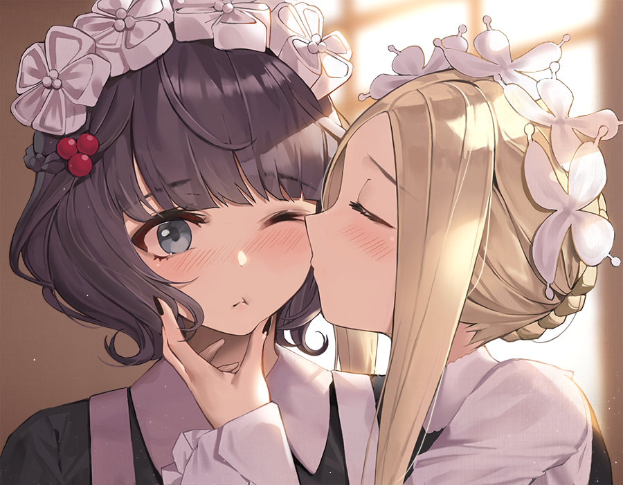 2girls ;t abigail_williams_(fate/grand_order) bangs black_dress black_hair blonde_hair blurry blurry_background blush braid butterfly_hair_ornament cheek_kiss closed_eyes closed_mouth collared_dress commentary_request depth_of_field dress eto_(nistavilo2) eyebrows_visible_through_hair fate/grand_order fate_(series) hair_ornament heroic_spirit_chaldea_park_outfit indoors katsushika_hokusai_(fate/grand_order) kiss long_hair multiple_girls one_eye_closed profile revision short_hair sidelocks upper_body yuri