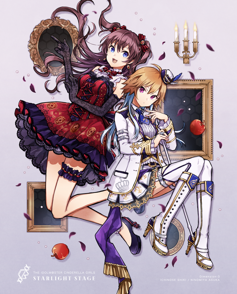 2girls apple bare_shoulders black_gloves blue_eyes blue_hair boots brown_hair buzz candelabra coat commentary commentary_request cravat dress earrings elbow_gloves food frilled_dress frilled_sleeves frills fruit gloves hair_extensions hair_ribbon hat high_heel_boots high_heels ichinose_shiki idolmaster idolmaster_cinderella_girls jewelry layered_skirt mini_hat multiple_girls ninomiya_asuka picture_frame red_eyes ribbon thigh-highs thigh_strap twintails white_coat white_footwear white_legwear