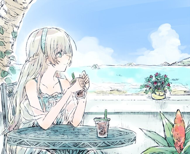 1girl anastasia_(fate/grand_order) blue_eyes blue_sky bubble_tea chair dress fate/grand_order fate_(series) flower_pot hairband long_hair ocean picotsuki silver_hair sitting sky smile table traditional_media