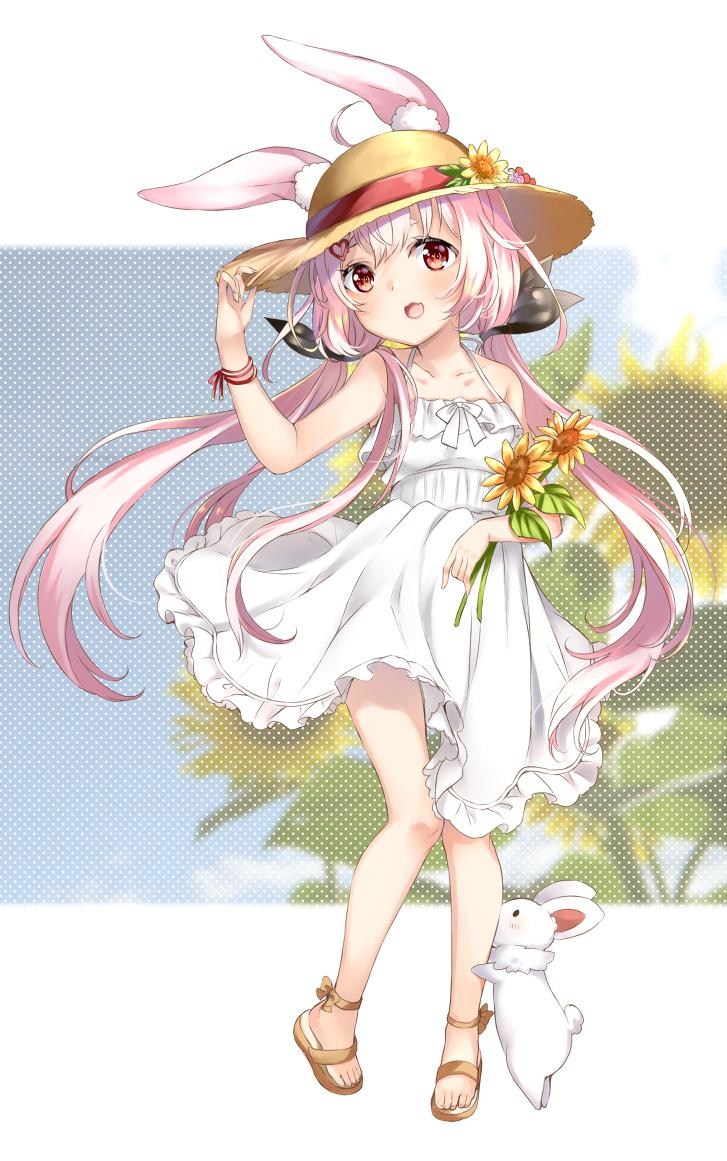 1girl ahoge animal_ear_fluff animal_ears arm_up commentary_request dress flower full_body hair_ornament hairclip hand_on_headwear hat leg_hug legs long_hair low_twintails mashiro_aa open_mouth pink_hair rabbit rabbit_ears red_eyes ribbon sandals smile sun_hat sundress sunflower toes tomari_mari tomari_mari_channel twintails very_long_hair virtual_youtuber white_dress wind wind_lift