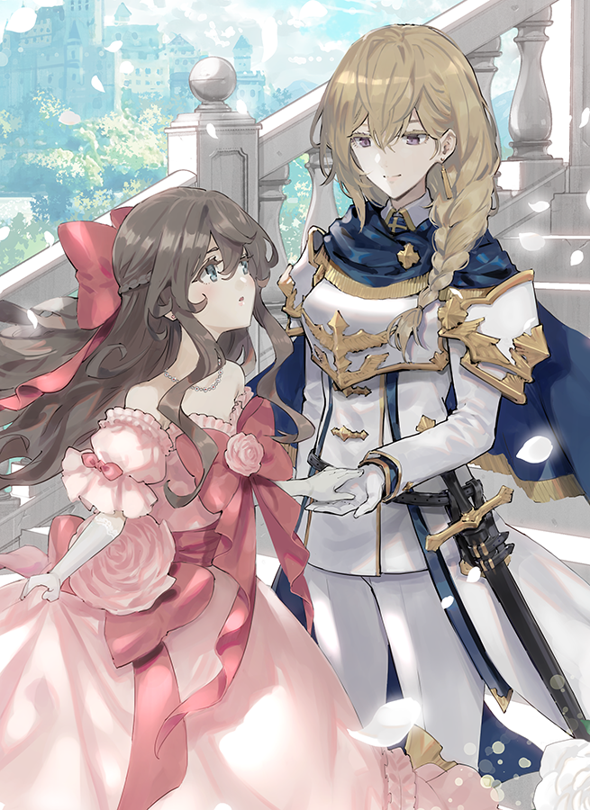 2girls armor bangs bare_shoulders blonde_hair blush braid breastplate brown_hair capelet colored_eyelashes double-breasted dress earrings elbow_gloves formal french_braid frills gloves hair_between_eyes hair_over_shoulder hair_ribbon holding_hand jewelry long_dress long_hair long_sleeves minakata_sunao multiple_girls necklace original pant_suit pants pauldrons petals pink_dress puffy_sleeves ribbon short_sleeves shoulder_armor side_braid skirt_hold smile spaulders stairs suit sword violet_eyes weapon