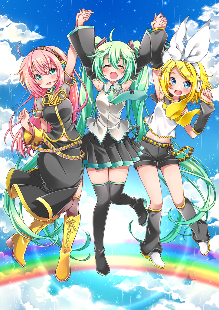 3girls aqua_hair aqua_neckwear armband arms_up asymmetrical_sleeves bare_shoulders belt black_legwear black_skirt blonde_hair blue_eyes blue_sky blush boots bow breasts closed_eyes clouds cloudy_sky commentary detached_sleeves full_body gold_trim hair_bow hair_ornament hatsune_miku headphones holding_hands jumping kagamine_rin kawanobe knee_boots leg_up leg_warmers long_hair looking_at_viewer medium_breasts megurine_luka midriff multiple_girls neckerchief necktie open_mouth pink_hair rainbow shirt short_hair short_shorts shorts skirt sky sleeveless sleeveless_shirt smile sparkle straight_hair thigh-highs twintails very_long_hair vocaloid white_bow yellow_footwear yellow_neckwear zettai_ryouiki