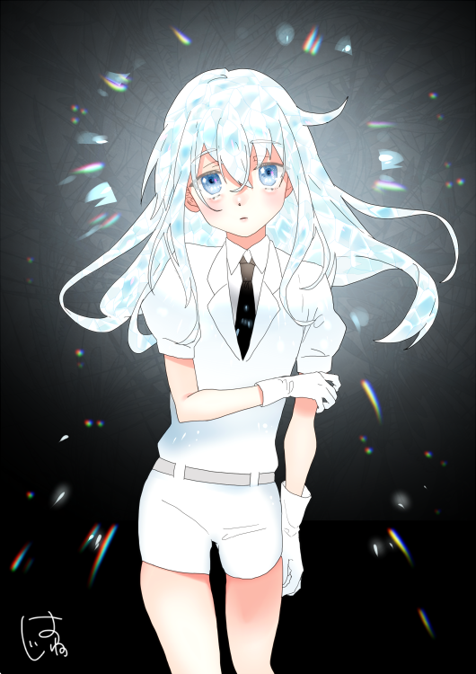 1girl arm_grab bangs belt black_background black_neckwear blue_eyes blush closed_mouth collared_shirt commentary_request cowboy_shot crystal_hair diamond_(houseki_no_kuni) expressionless eyebrows_visible_through_hair gem_uniform_(houseki_no_kuni) gloves glowing glowing_hair hair_between_eyes hatu_xxgoukan hibiki_(kantai_collection) houseki_no_kuni kantai_collection long_hair looking_at_viewer multicolored_hair necktie parody puffy_short_sleeves puffy_sleeves shirt short_sleeves shorts signature solo translation_request verniy_(kantai_collection) white_gloves white_shirt white_shorts
