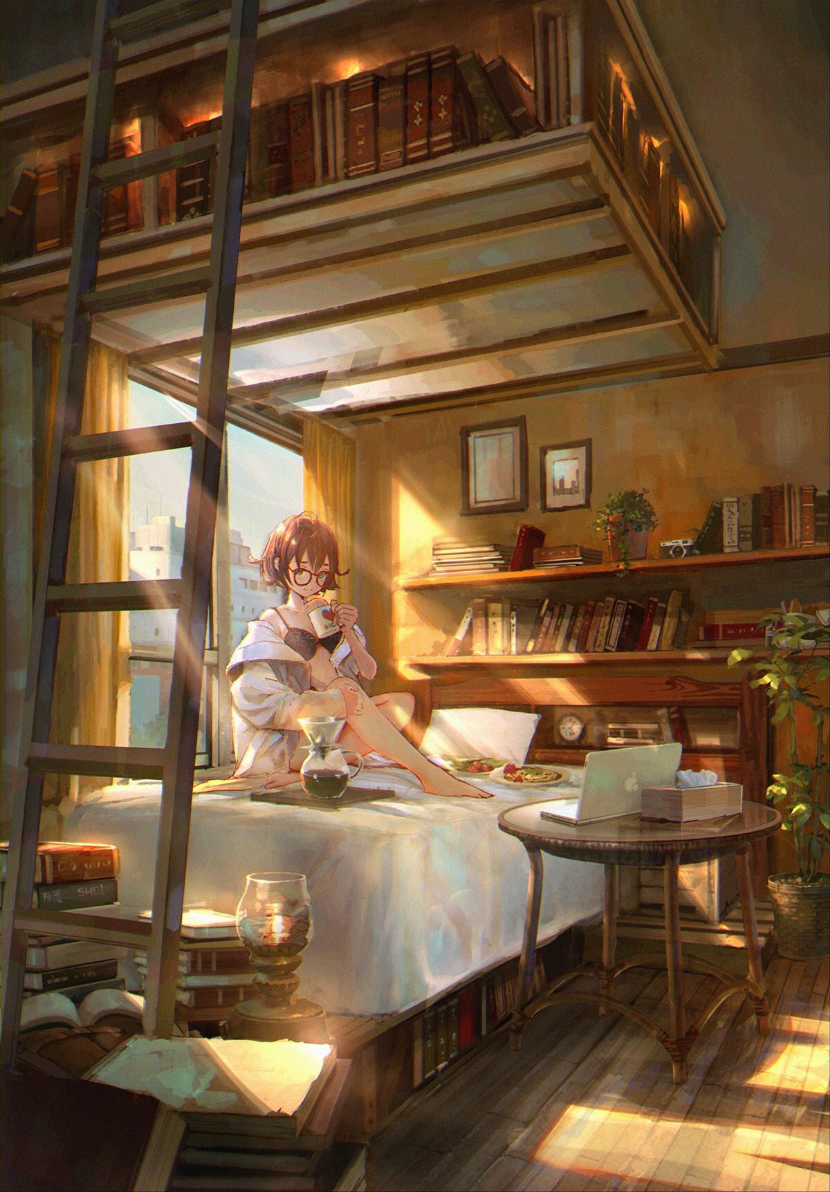 1girl alarm_clock baggy_clothes bare_shoulders barefoot bed black_bra book_stack bra brown_hair camera clock coffee computer cup curtains day food glasses green_eyes heart highres holding holding_cup indoors jacket knee_up ladder laptop light_rays looking_at_viewer mug on_bed open_clothes open_jacket original picture_frame pillow pitcher plant plate potted_plant red-framed_eyewear round_eyewear shelf sho_(shoichi-kokubun) short_hair sidelocks smile solo sunbeam sunlight table tissue_box underwear white_jacket wide_shot window