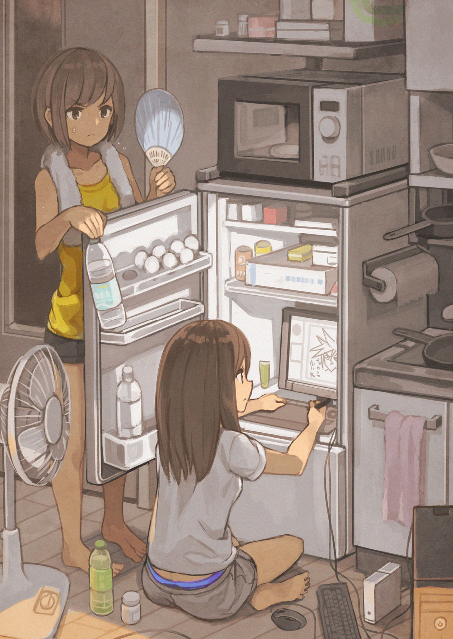 2girls bangs barefoot bottle brown_eyes brown_hair collarbone commentary computer computer_tower drawing drawing_tablet electric_fan fan from_behind highres holding holding_bottle indian_style indoors keyboard_(computer) kitchen long_hair microwave monitor mouse_(computer) multiple_girls original panties panty_peek paper_fan refrigerator refrigerator_interior short_hair shorts sideways_mouth sitting standing sweat tomioka_jirou towel towel_around_neck uchiwa underwear water_bottle wooden_floor yellow_tank_top