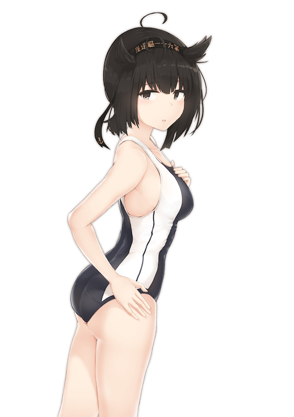 1girl ahoge ass bangs bare_shoulders black_hair blush breasts clothes_writing commentary_request competition_swimsuit covered_nipples cowboy_shot driftkingtw eyebrows_visible_through_hair from_side hair_between_eyes hair_flaps hairband hand_on_hip hatsuzuki_(kantai_collection) headband highleg highleg_swimsuit kantai_collection large_breasts looking_at_viewer one-piece_swimsuit parted_lips revision short_hair sideboob simple_background smile solo standing swimsuit white_background yellow_eyes