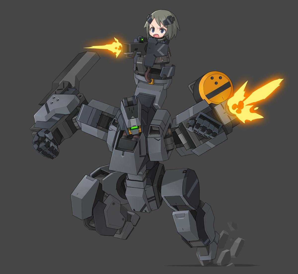 1girl 1other chibi clenched_hand commentary_request firing glowing glowing_eye gun korean_commentary machine_gun mecha mechanical_arm original ran_system robot robot_joints robotic_legs running weapon