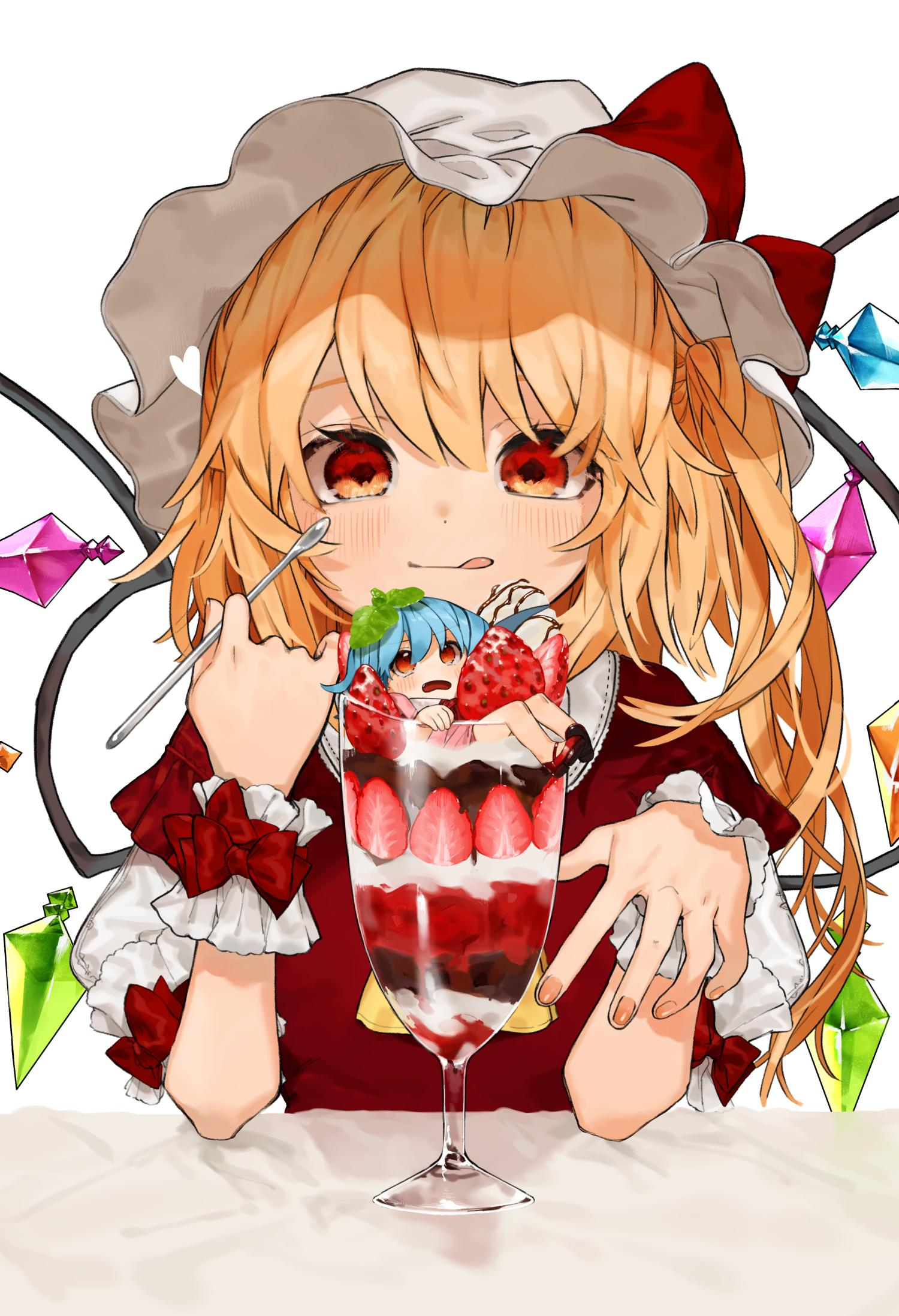 2girls :p alternate_costume ascot bangs blonde_hair blue_hair blush bow chocolate_syrup commentary cup dress drinking_glass eyebrows_visible_through_hair flandre_scarlet food fruit gotoh510 hair_between_eyes hands_up hat highres holding holding_spoon ice_cream in_container in_cup in_food leaf leaf_on_head looking_at_viewer minigirl mob_cap multiple_girls one_side_up open_mouth red_bow red_dress red_eyes remilia_scarlet short_hair siblings simple_background sisters spoon strawberry sundae symbol_commentary tongue tongue_out touhou upper_body white_background white_headwear wrist_cuffs yellow_neckwear