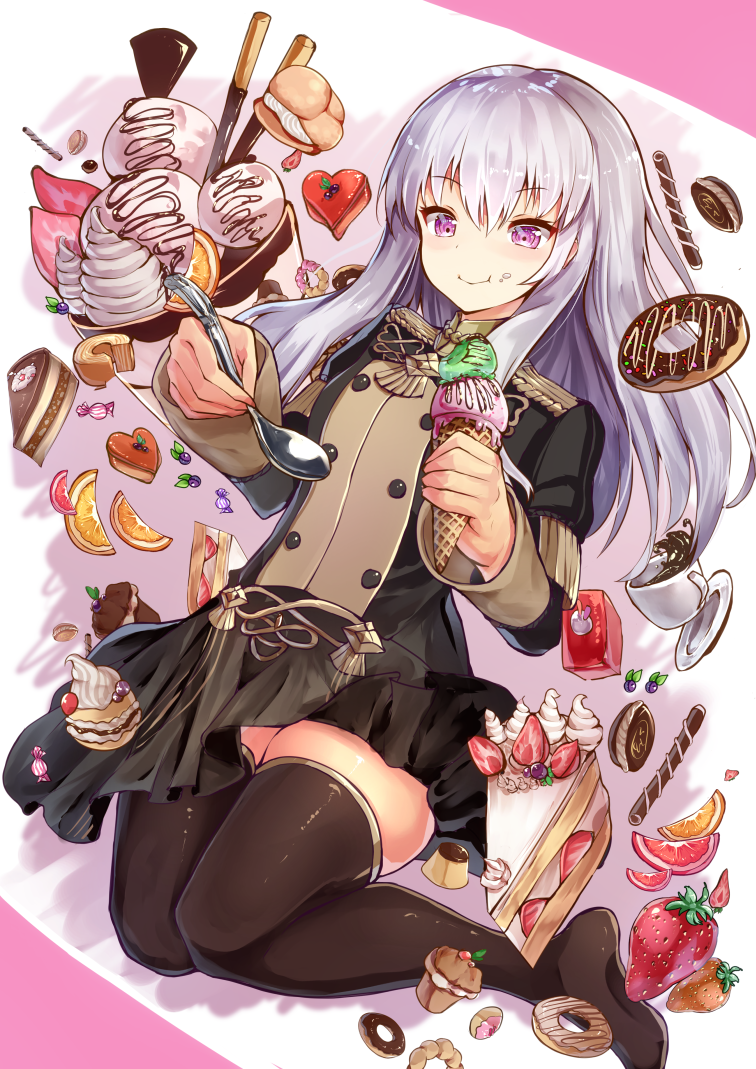 1girl black_legwear cake candy coffee_cup cup cupcake cute disposable_cup doughnut eating fire_emblem fire_emblem:_fuukasetsugetsu fire_emblem:_three_houses food fruit garreg_mach_monastery_uniform ice_cream ice_cream_cone intelligent_systems koei_tecmo licking_lips long_hair lysithea_von_ordelia macaron nintendo orange orange_slice pastry school_uniform se-u-ra silver_hair skirt smile solo spoon strawberry sweets thigh-highs tongue tongue_out