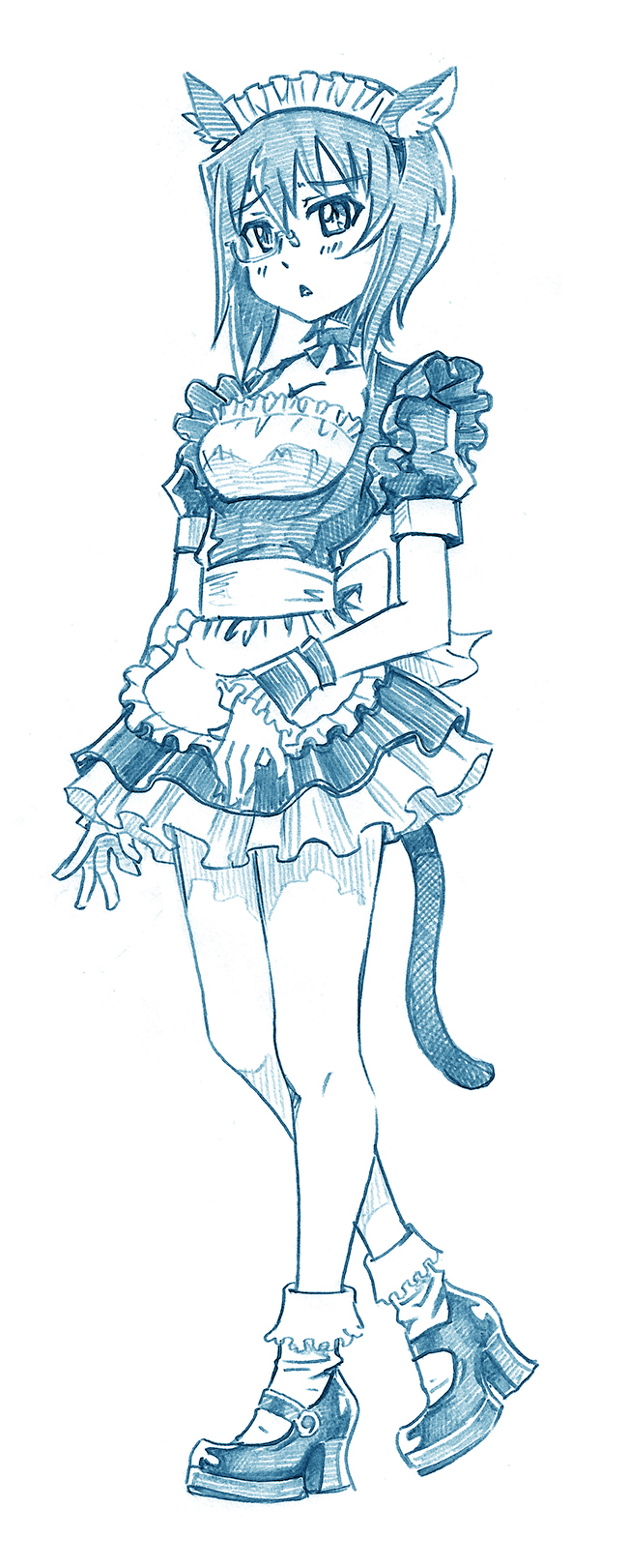 1girl alternate_costume animal_ears apron bangs bbb_(friskuser) blue_theme bobby_socks cat_ears cat_tail choker commentary dress enmaided eyebrows_visible_through_hair fake_animal_ears fake_tail frilled_apron frilled_dress frilled_wrist_cuffs frills frown girls_und_panzer high_heels highres kawashima_momo light_blush looking_at_viewer maid maid_headdress mary_janes monochrome monocle parted_lips puffy_short_sleeves puffy_sleeves ribbon_choker semi-rimless_eyewear shoes short_dress short_hair short_sleeves socks solo standing tail under-rim_eyewear waist_apron wrist_cuffs