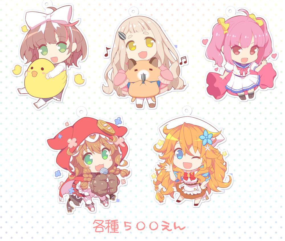 5girls achikita_chinami ahoge asuka_hina bird blonde_hair blue_eyes blue_shirt blush blush_stickers bow braid brown_hair brown_skirt buttons candy chibi chick eighth_note eyebrows_visible_through_hair flower food gloves gonzalez_(machita_chima) green_eyes hair_between_eyes hair_bow hair_ornament hairclip heart holding holding_microphone hoppege long_hair looking_at_viewer machita_chima microphone multiple_girls musical_note nijisanji one-piece_swimsuit open_mouth orange_hair otogibara_era oversized_object paw_gloves paws pink_hair puffy_short_sleeves puffy_sleeves quarter_note red_hood red_skirt seed shirt short_hair short_sleeves skirt smile sunflower_seed swimsuit twin_braids twintails virtual_youtuber warabeda_meijii waving white_bow white_footwear white_legwear yellow_bow yellow_eyes