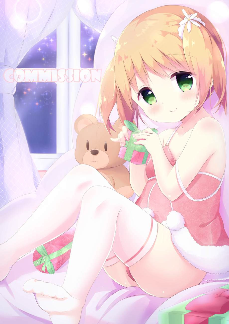 1girl bare_shoulders blush breasts brown_hair christmas closed_mouth commentary commission curtains cute english_commentary fingernails flower fur_trim gift hair_flower hair_ornament hands_up highres hobunsha holding holding_gift indoors kittipat_jituatakul knees_up loli looking_at_viewer moe panties red_camisole red_panties sakura_trick sitting small_breasts smile solo sonoda_yuu sparkle strap_slip studio_deen stuffed_animal stuffed_toy teddy_bear thigh-highs twintails underwear underwear_only white_flower white_legwear window