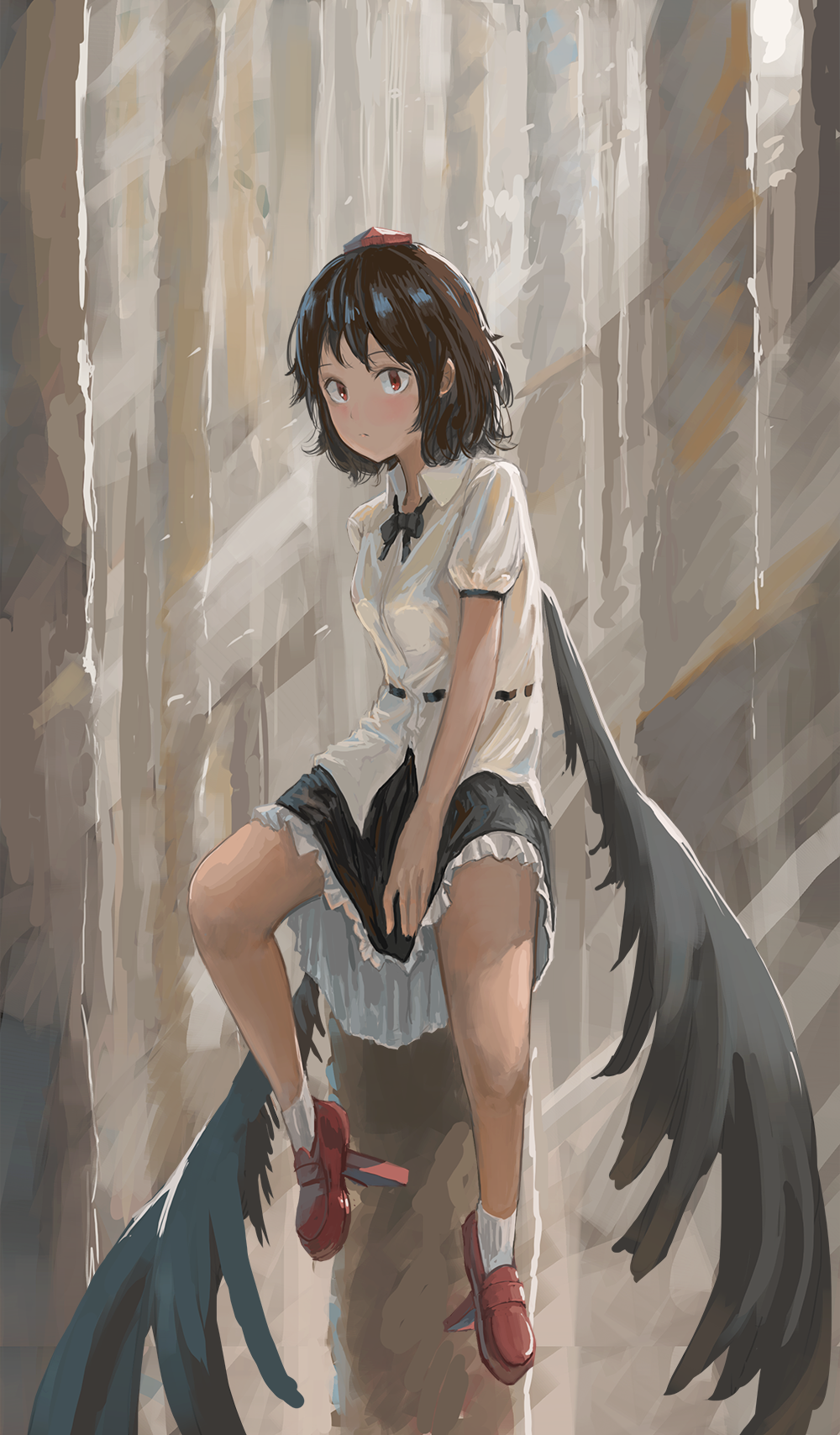 1girl belt between_legs black_hair black_neckwear black_skirt black_wings bobby_socks constricted_pupils day expressionless feathered_wings fjsmu forest geta hand_between_legs hat highres legs_apart looking_at_viewer nature neck_ribbon outdoors petticoat puffy_short_sleeves puffy_sleeves red_eyes red_footwear red_headwear ribbon shameimaru_aya shirt short_hair short_sleeves skirt skirt_hold socks solo tengu-geta tokin_hat touhou untucked_shirt white_legwear white_shirt wings