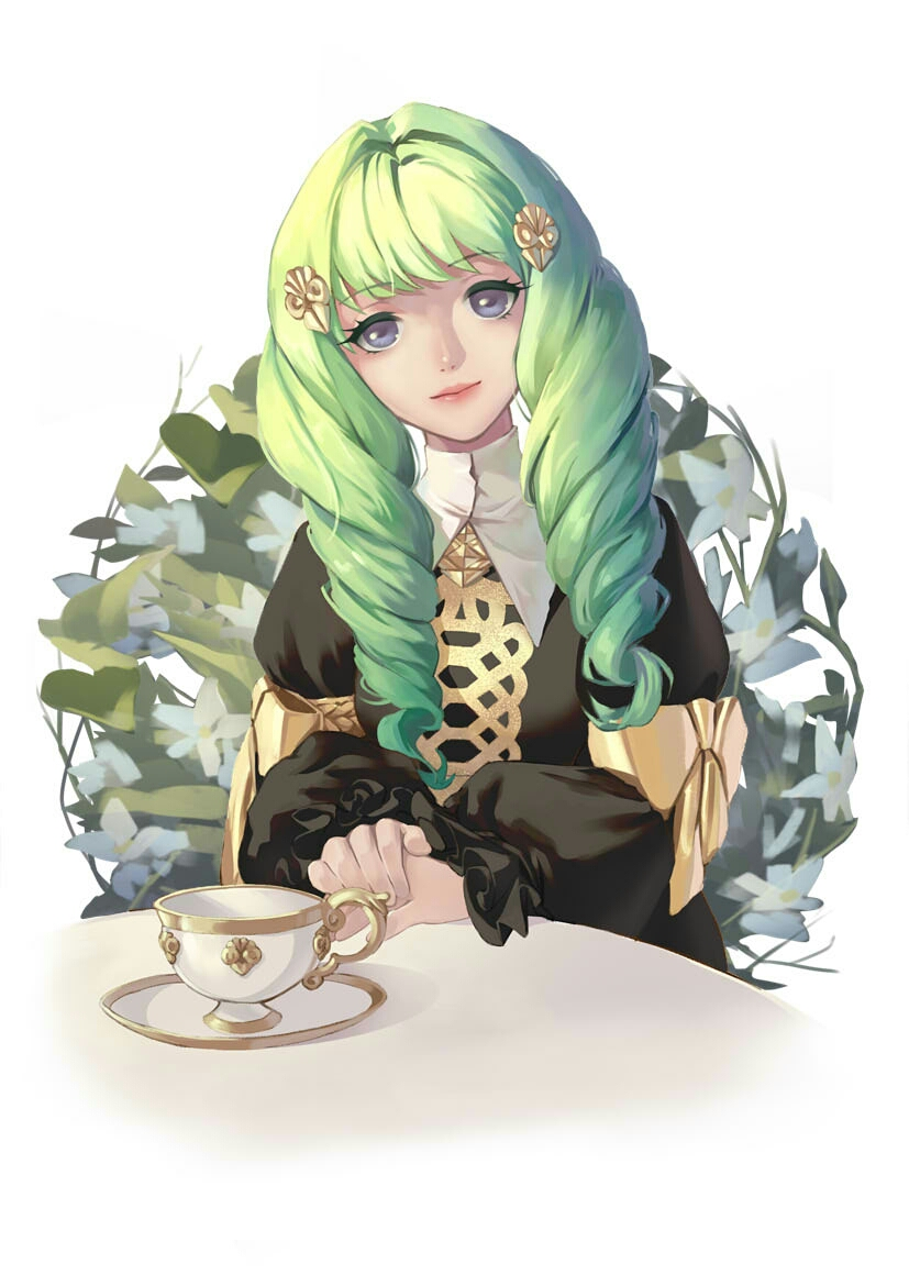 1girl blue_eyes cup drill_hair fire_emblem fire_emblem:_three_houses flayn_(fire_emblem) flower green_hair hair_ornament hairclip leaf long_hair sitting solo teacup user_gvdp5787 white_background