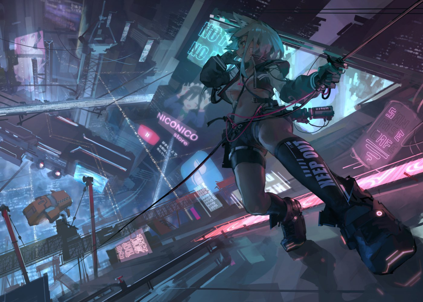 1girl aamond aircraft airship animal_ear_fluff animal_ears bandage_on_face black_legwear boots breasts building cable cat_ears catwalk caution_tape city crane crop_top crop_top_overhang cropped_jacket full_body gloves jacket keep_out midriff navel nico_nico_nii night open_clothes open_jacket original outdoors rappelling rope science_fiction shorts sidelocks sign skyscraper taxi thigh-highs under_boob yazawa_nico