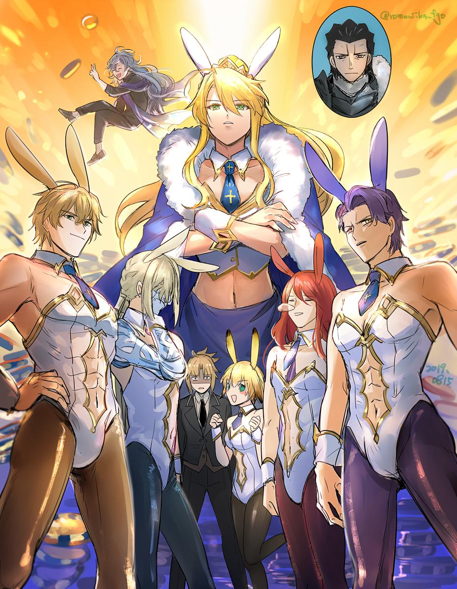 3girls 6+boys agravain_(fate/grand_order) aki_(neyuki41028) alternate_costume animal_ears armor artoria_pendragon_(all) artoria_pendragon_(lancer) bare_shoulders bedivere black_armor black_suit blonde_hair breasts bunnysuit cape closed_mouth collarbone commentary_request crossdressing crown earrings eyebrows_visible_through_hair fate/grand_order fate_(series) formal gareth_(fate/grand_order) gawain_(fate/grand_order) green_eyes hair_between_eyes hair_tubes heroic_spirit_formal_dress highres jewelry knight knights_of_the_round_table_(fate) lancelot_(fate/grand_order) long_hair looking_at_viewer merlin_(fate) mordred_(fate) mordred_(fate)_(all) multiple_boys multiple_girls navel necktie nose_bubble open_mouth pantyhose ponytail prosthesis prosthetic_arm purple_hair rabbit_ears redhead scarf short_hair sleeping small_breasts smile suit teeth tristan_(fate/grand_order) twitter_username yellow_eyes