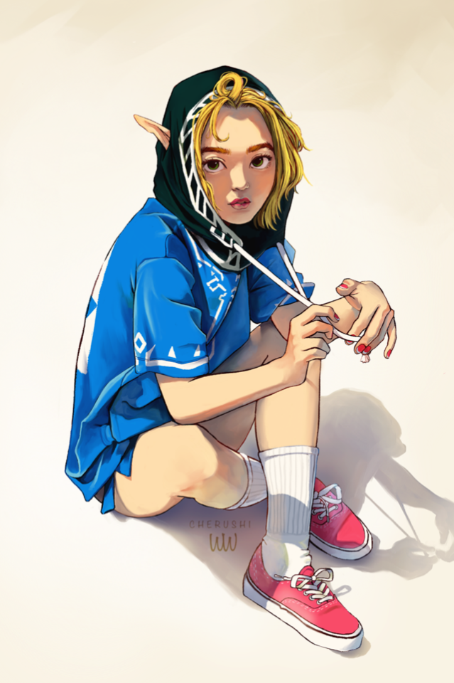 1girl adapted_costume blonde_hair cherushi commentary contemporary crossed_ankles english_commentary forehead green_eyes hood hood_up looking_at_viewer nail_polish pointy_ears princess_zelda red_footwear shadow shoes short_hair sitting sneakers socks solo the_legend_of_zelda the_legend_of_zelda:_breath_of_the_wild the_legend_of_zelda:_breath_of_the_wild_2 thick_eyebrows tube_socks