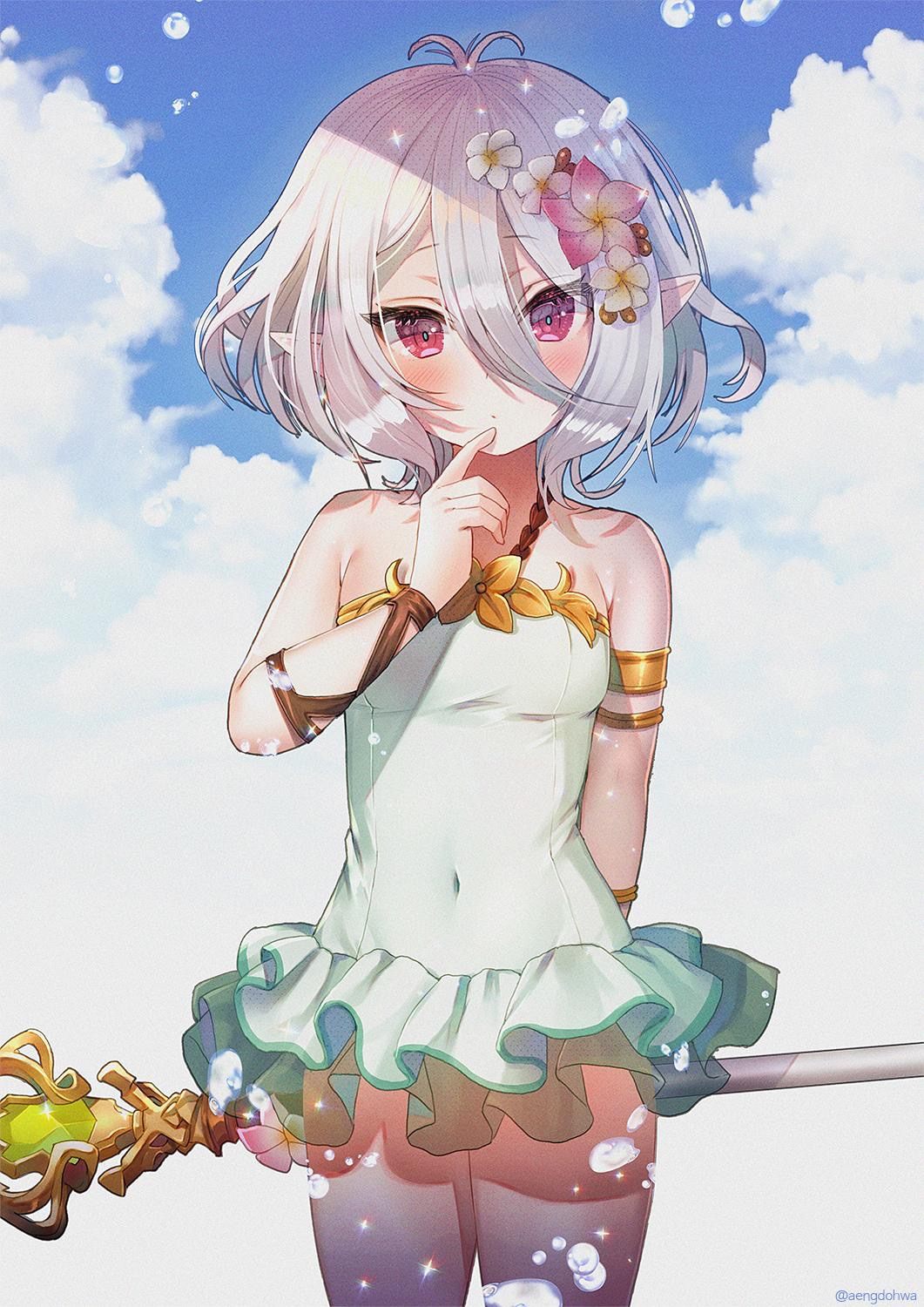 1girl antenna_hair armlet artist_name bare_shoulders blue_sky blush breasts closed_mouth clouds commentary_request covered_navel day eyebrows_visible_through_hair eyes_visible_through_hair finger_to_mouth flower frilled_swimsuit frills hair_between_eyes hair_flower hair_ornament hanato_(seonoaiko) hand_up highres holding holding_staff kokkoro_(princess_connect!) looking_at_viewer outdoors pointy_ears princess_connect! princess_connect!_re:dive red_eyes short_hair sky small_breasts solo staff standing swimsuit tsurime water_drop white_hair