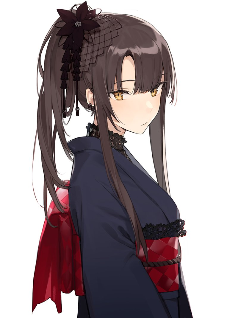 1girl aiko_(kanl) black_hair blue_kimono character_request copyright_request english_commentary flower from_side hair_flower hair_ornament japanese_clothes kimono long_hair looking_at_viewer ponytail sidelocks simple_background solo upper_body white_background yellow_eyes