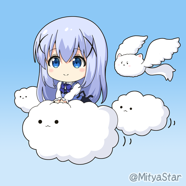 1girl angora_rabbit animal bangs black_skirt blue_background blue_eyes blue_hair blue_vest blush chibi closed_mouth clouds commentary_request eyebrows_visible_through_hair gochuumon_wa_usagi_desu_ka? gradient gradient_background hair_between_eyes hair_ornament kafuu_chino long_hair long_sleeves miicha rabbit rabbit_house_uniform shirt sidelocks skirt smile tippy_(gochiusa) twitter_username uniform v-shaped_eyebrows very_long_hair vest waitress white_shirt winged_animal x_hair_ornament