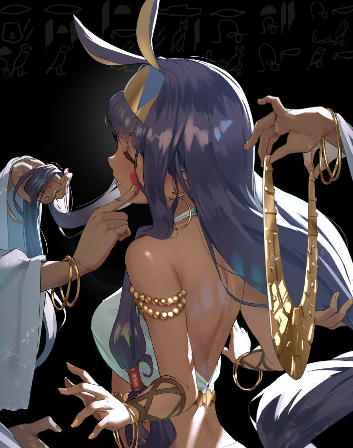 1girl animal_ears armlet bangs blunt_bangs bracelet breasts closed_eyes dark_skin earrings egyptian egyptian_art egyptian_clothes facepaint facial_mark fate/grand_order fate_(series) fingernails hairband holding hoop_earrings jackal_ears jewelry lips long_hair long_sleeves makeup nail_polish necklace nitocris_(fate/grand_order) out_of_frame purple_hair satsuki_neko sidelocks solo_focus upper_body very_long_hair wide_sleeves wristband