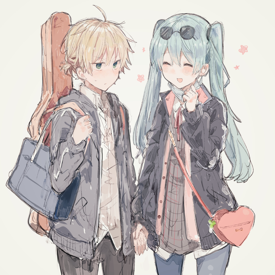 1boy 1girl :d ^_^ bag bangs black_jacket black_pants blonde_hair blue_pants blush closed_eyes closed_mouth collared_shirt cowboy_shot eyebrows_visible_through_hair eyewear_on_head green_eyes green_hair grey_background grey_jacket hair_between_eyes hand_up hatsune_miku heart heart-shaped_bag holding_hands ikeuchi_tanuma instrument_case jacket kagamine_len long_sleeves mask_pull neck_ribbon open_mouth pants red_ribbon ribbon school_bag shirt shoulder_bag simple_background sketch smile sunglasses surgical_mask twintails vocaloid white_shirt