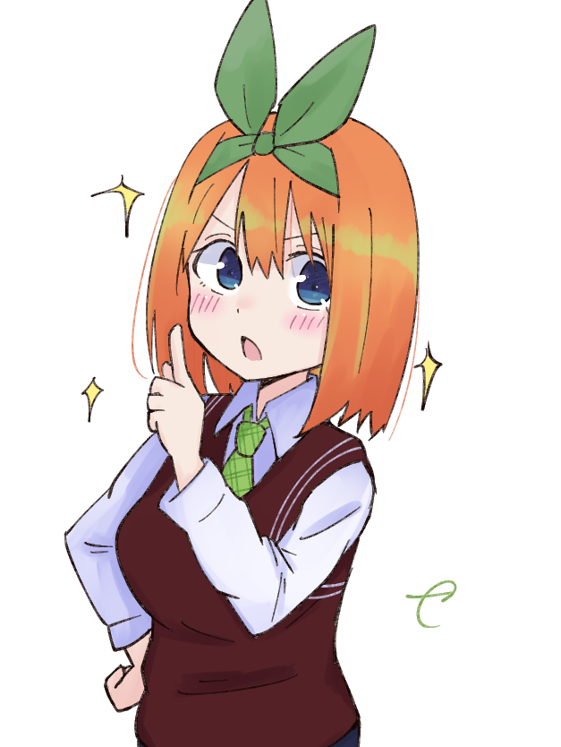 1girl bangs blue_eyes blush collared_shirt commentary_request eyebrows_behind_hair go-toubun_no_hanayome green_neckwear green_ribbon hair_between_eyes hair_ribbon hand_on_hip hand_up index_finger_raised kujou_karasuma long_sleeves looking_at_viewer nakano_yotsuba open_mouth orange_hair plaid_neckwear ribbon shirt signature simple_background solo sparkle sweater_vest upper_body v-shaped_eyebrows white_background white_shirt