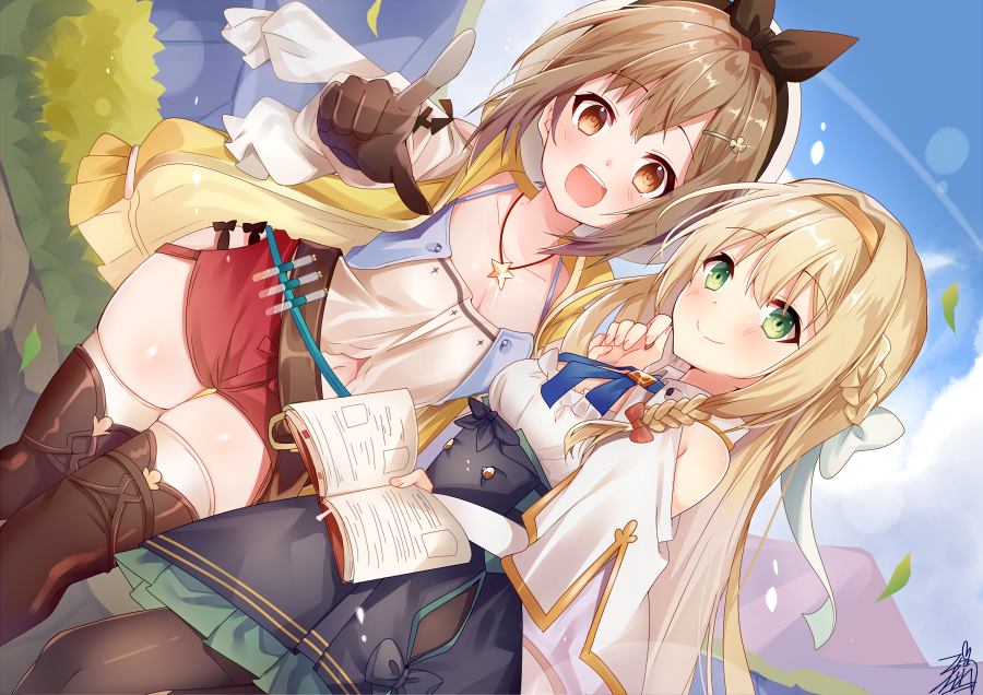 2girls :d atelier_(series) atelier_ryza bangs belt belt_buckle beret black_skirt blonde_hair blue_sky blush book bow braid breasts brown_belt brown_eyes brown_gloves brown_hair brown_hairband brown_legwear brown_ribbon buckle closed_mouth clouds collarbone collared_shirt commentary_request day dutch_angle eyebrows_visible_through_hair frilled_skirt frills gloves green_eyes hair_between_eyes hair_bow hair_ornament hair_ribbon hairband hairclip hat high-waist_skirt holding holding_book hood hood_down hooded_jacket jacket jewelry klaudia_valentz long_hair multiple_girls necklace omuretsu open_book open_clothes open_jacket open_mouth outdoors pantyhose pointing pointing_at_viewer red_shorts reisalin_stout ribbon round_teeth shirt short_shorts shorts shoulder_cutout signature skindentation skirt sky sleeveless sleeveless_jacket small_breasts smile star star_necklace teeth thigh-highs upper_teeth very_long_hair vial white_bow white_headwear white_legwear white_shirt yellow_jacket