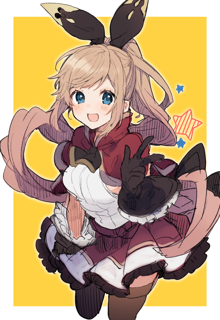 1girl :d black_gloves blue_eyes breasts brown_hair brown_legwear capelet clarisse_(granblue_fantasy) floating_hair frilled_skirt frills gloves granblue_fantasy hair_ribbon ikeuchi_tanuma long_hair looking_at_viewer medium_breasts open_mouth ponytail red_capelet red_skirt ribbon shirt sidelocks skirt sleeveless sleeveless_shirt smile solo star thigh-highs two-tone_background very_long_hair w white_shirt