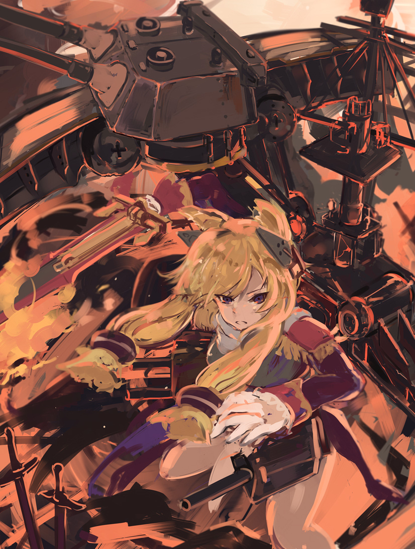 1girl azur_lane bangs blonde_hair eyebrows_visible_through_hair gloves hair_between_eyes headgear long_hair open_mouth rigging scarf shika_(shika0) solo sword violet_eyes warspite_(azur_lane) weapon white_gloves