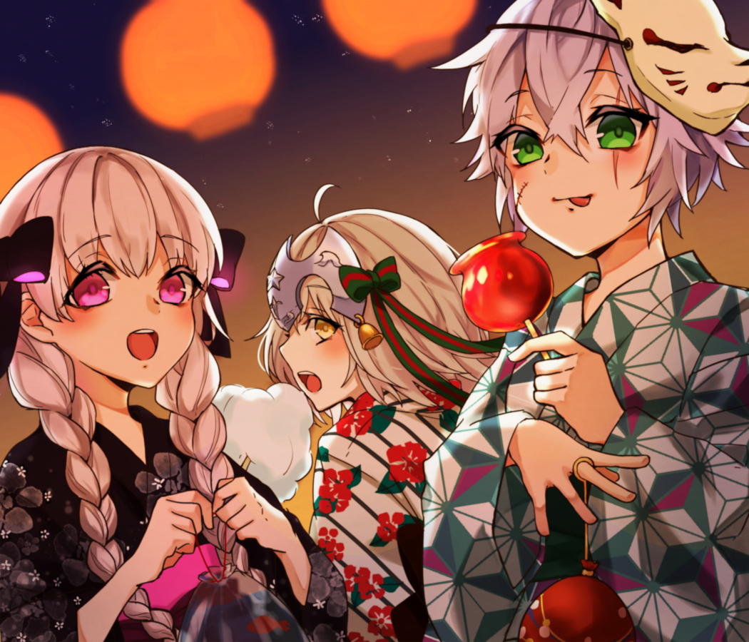 3girls ahoge bell black_bow blush bow braid candy_apple eyebrows_visible_through_hair facial_scar fate/apocrypha fate/extra fate/grand_order fate_(series) food green_eyes grey_hair headgear jack_the_ripper_(fate/apocrypha) japanese_clothes jeanne_d'arc_(fate)_(all) jeanne_d'arc_alter_santa_lily kimono lantern licking mask mask_on_head multiple_girls nursery_rhyme_(fate/extra) open_mouth pink_eyes print_kimono scar smile twin_braids yellow_eyes yukata