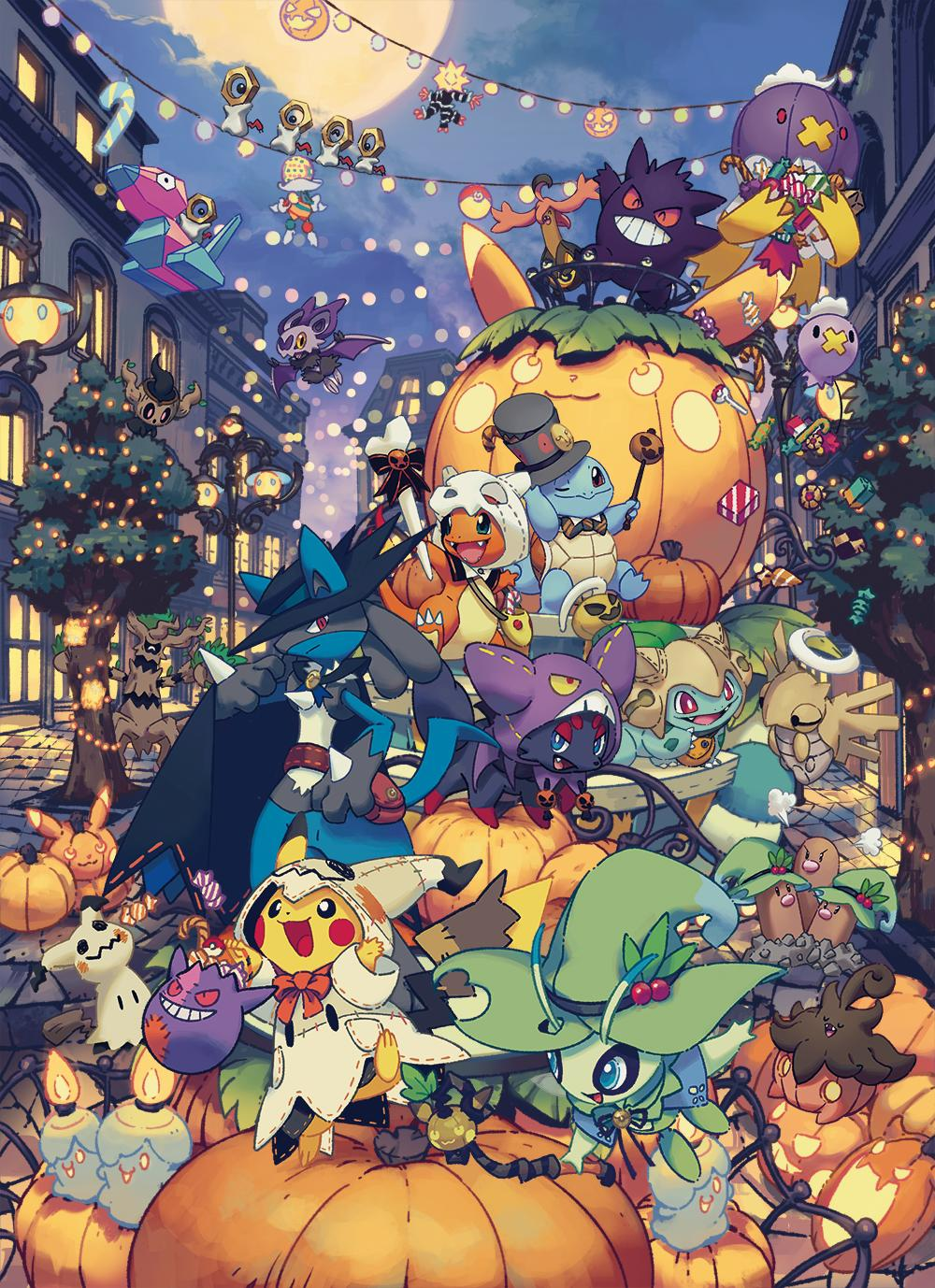 bulbasaur celebi charmander cosplay costume diglett drifblim drifloon gen_1_pokemon gen_2_pokemon gen_4_pokemon gen_5_pokemon gen_7_pokemon gengar gourgeist halloween halloween_costume hat highres jack-o'-lantern lampent lamppost litwick lucario meltan mimikyu moon night no_humans official_art ornament phantump pikachu pokemon porygon pumpkaboo pumpkin shedinja smile squirtle tree trevenant zorua