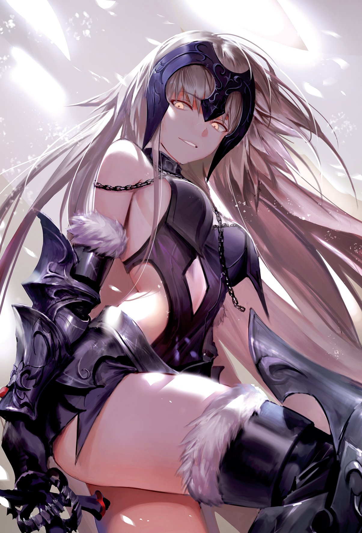 1girl armor armored_leotard bangs bare_shoulders breasts cape center_opening choker cowboy_shot eyebrows_visible_through_hair fate/grand_order fate_(series) faulds fur_trim gauntlets grey_background headpiece highres jeanne_d'arc_(alter)_(fate) jeanne_d'arc_(fate)_(all) large_breasts long_hair shycocoa silver_hair smile sword thigh-highs tsurime two-tone_background very_long_hair weapon yellow_eyes