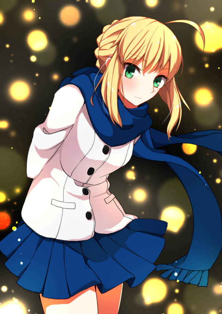 1girl ahoge aqua_eyes arms_behind_back artoria_pendragon_(all) bangs blonde_hair blue_scarf blue_skirt braid buttons closed_mouth coat cowboy_shot eyebrows_visible_through_hair fate/stay_night fate_(series) leaning_forward legs_together long_sleeves looking_at_viewer miniskirt misoradeko pleated_skirt saber scarf short_hair sidelocks skirt smile solo white_coat