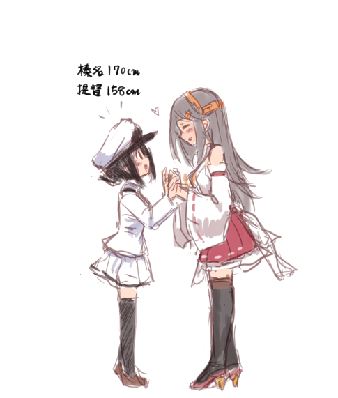 2girls black_hair black_legwear blush boots female_admiral_(kantai_collection) full_body hair_ornament hairclip hands_together haruna_(kantai_collection) hat headgear height_difference high_heels jacket kantai_collection long_hair looking_at_another military military_uniform multiple_girls naval_uniform nontraditional_miko pantyhose peaked_cap red_skirt reflection remodel_(kantai_collection) ribbon-trimmed_sleeves ribbon_trim simple_background sketch skirt thigh-highs thigh_boots uniform utopia white_background white_headwear white_jacket white_skirt