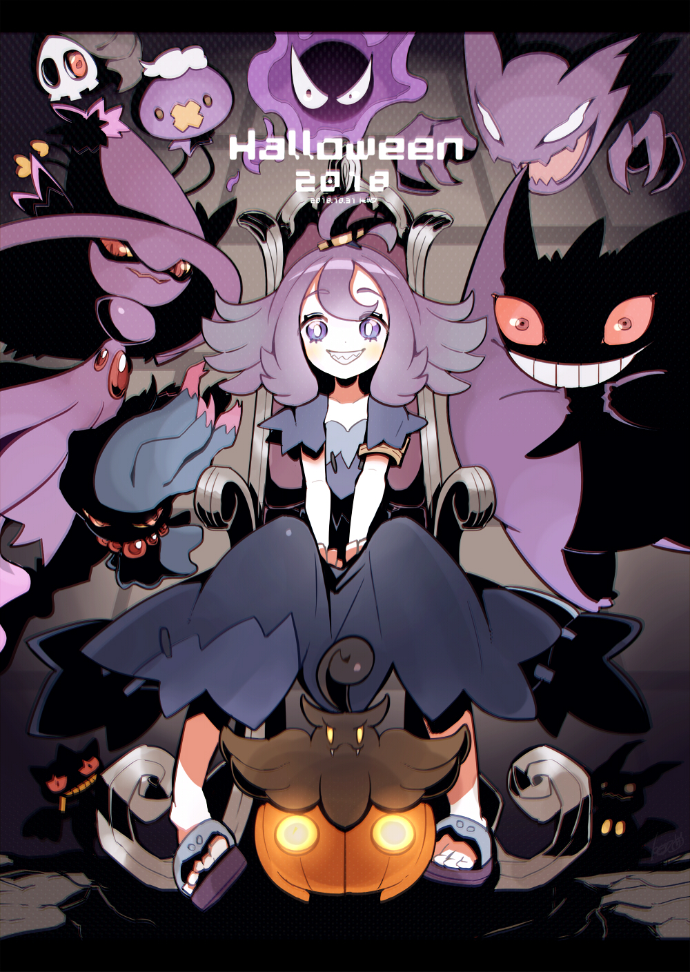 1girl 2018 acerola_(pokemon) antenna_hair armlet artist_name banette bangs black_eyes blank_eyes blue_dress blush brown_eyes chair commentary_request constricted_pupils dated dress drifloon duskull elite_four fangs flat_chest floating full_body gastly gen_1_pokemon gen_3_pokemon gen_4_pokemon gen_6_pokemon gen_7_pokemon gengar ghost grin hair_ornament halloween hands_up happy haunter highres keijou_(cave) letterboxed looking_at_viewer mimikyu misdreavus mismagius one-eyed orange_sclera pokemon pokemon_(creature) pokemon_(game) pokemon_sm pumpkaboo purple_footwear purple_hair red_eyes red_sclera sandals sharp_teeth shiny shiny_hair short_hair short_sleeves signature sitting smile teeth trial_captain violet_eyes white_eyes yellow_eyes yellow_sclera