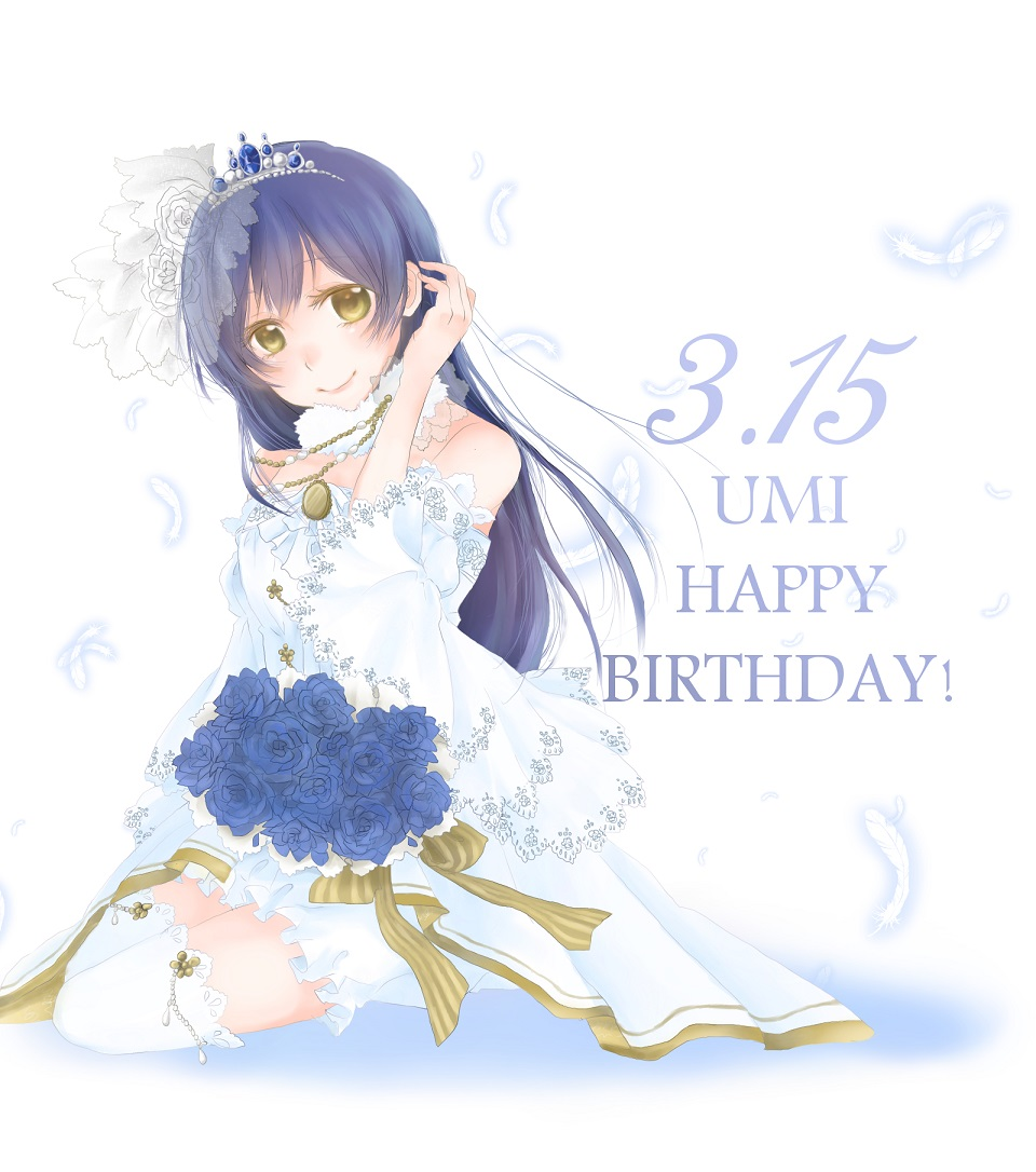 1girl arm_up bangs bare_shoulders blue_flower blue_hair blush bouquet bridal_veil character_name closed_mouth commentary_request dated detached_sleeves dress eyebrows_visible_through_hair feathers flower hair_between_eyes happy_birthday long_hair looking_at_viewer love_live! love_live!_school_idol_project simple_background sitting smile solo sonoda_umi strapless strapless_dress sumire_(sumisumisan) thigh-highs tiara veil wedding_dress white_background white_legwear yellow_eyes yokozuwari
